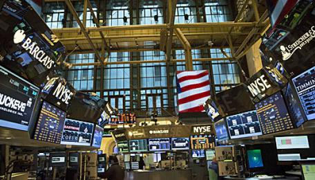 Die New York Stock Exchange (NYSE) an der Wall Street.