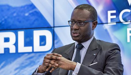 Tidjane Thiam, CEO der Credit Suisse, spricht am Panel «Global Markets in a Fractured World» am WEF 2018 in Davos (23.1.2018).