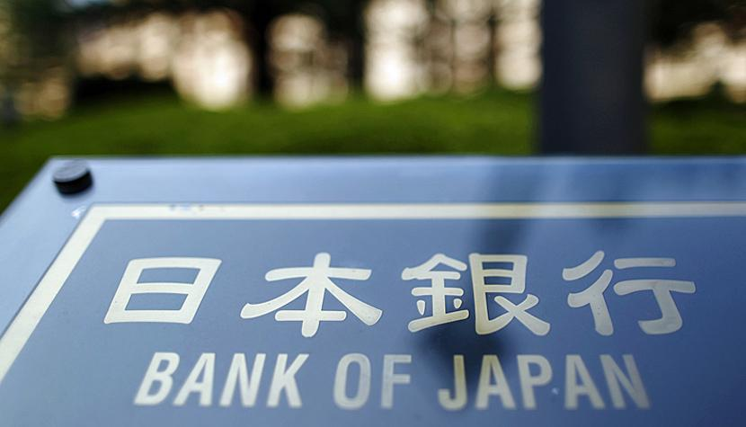 Schild von der Bank of Japan in Tokio.