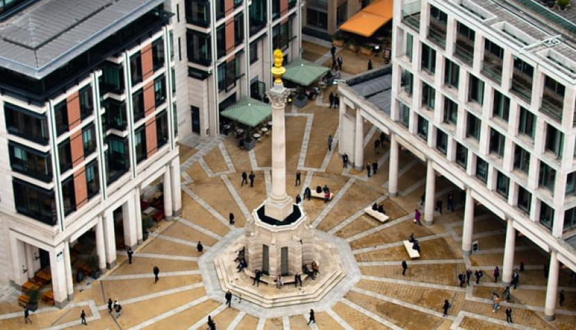 Der Sitz der London Stock Exchange am Paternoster Square ihn London.