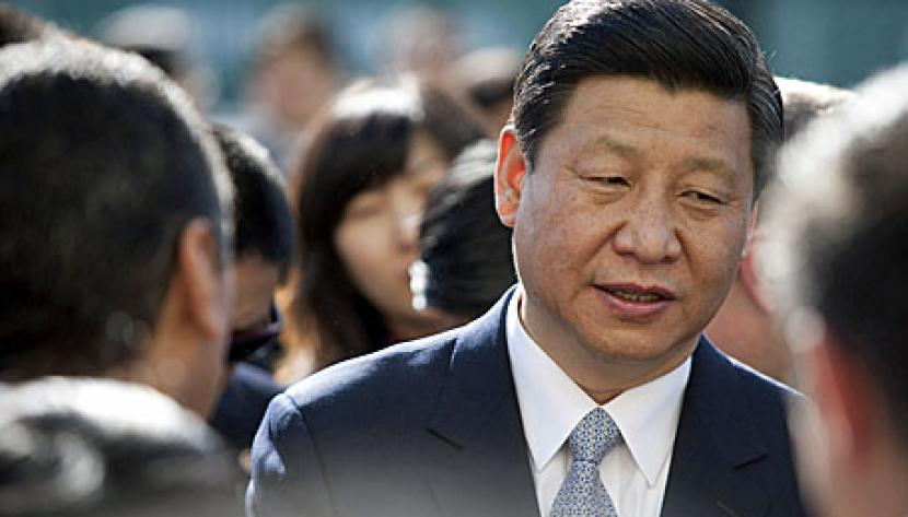 Xi Jinping, vice president of China, visits the China Shipping terminal at the Port of Los Angeles in Los Angeles, California, U.S., on Thursday, Feb. 16, 2012.